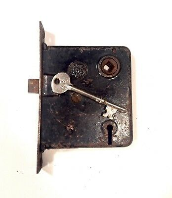 Antique Victorian Era Mortise Door Lock Latch W/ Skeleton Key Works Properly d