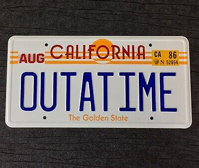 Back to the Future OUTATIME De Lorean prop License Plate Embossed on Aluminium