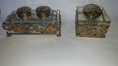 Two 19th century Baccarat Inkwells Crystal Glass & Gilt Cages