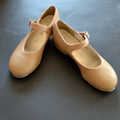 TAP SHOES CAPEZIO GIRLS LEATHER TAN BEIGE MARY JANE BUCKLE TELETAP s 4 1/2 M