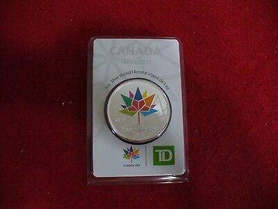 2017    Canada 150  Maple Leaf Colored Silver Round  Coins Td  Bank Limited