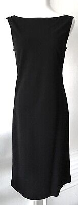 Dkny Donna Karan Black Tuxedo Dress Boat Neck Satin Band Sides Light Wool 8