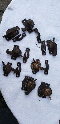 8 Antique Round Fancy Victorian Window Sash Locks Sets Working, Excellent!!!