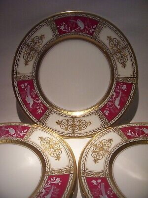 4 Minton Tiffany Pate Sur Pate Raised Gold Encrusted  Plates Signed 10 3/4""