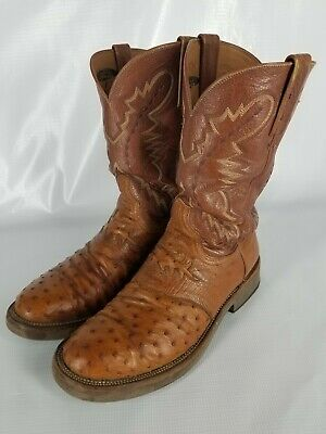 1d4288a6a69 LUCCHESE BROWN SMOOTH Ostrich Square Toe Crepe Sole Boots Men's 9.5 ...