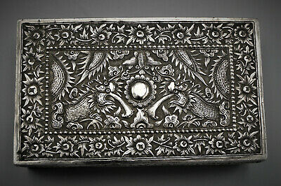 19th C ANTIQUE CHINESE SILVER BOX SIGNED WITH DRAGONS