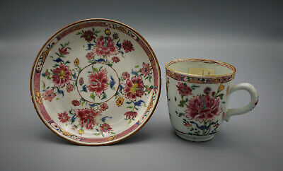 Antique Chinese Famille Rose Tea-Cup And Saucer 18-19Th C