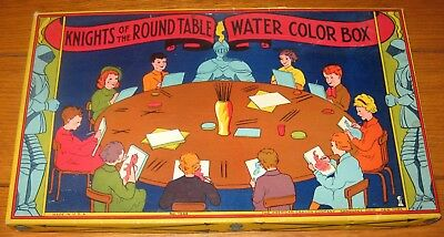 Vintage Water Color Box Knights of The Round Table  Circa Early 1950's   RARE!!!