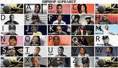 Alphabet poster hiphop rapper stars learning education abc abc's