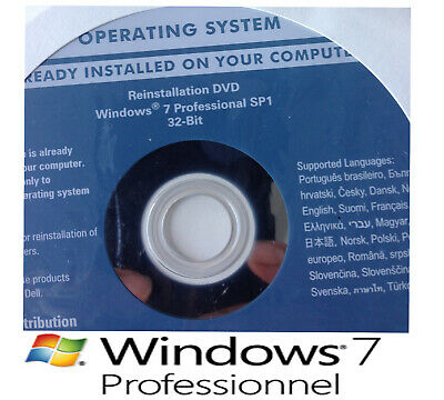 DVD Neuf Original Windows 7 pro 32 bit (SP1 intégré)+ Clé d'activation