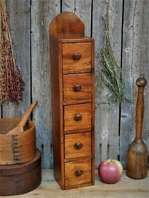 Antique Primitive Wood Spice Cabinet Pantry Apothecary Farmhouse