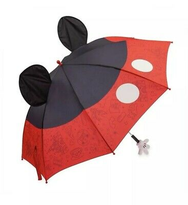 Disney Parks Classic Mickey Mouse Ears w/ Attraction Icons  Pop Up Umbrella