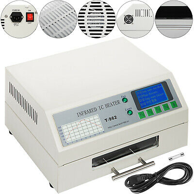T962 Reflow Oven Thermal Cycles 800w Preheat Mode Micro-Computer Setup New
