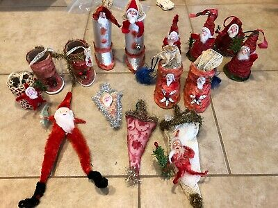 Huge Lot Home-Made Vintage Christmas Bottle Brush Candy Containers Ornaments
