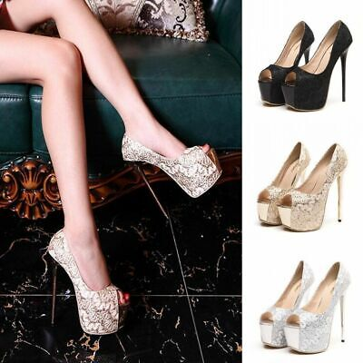 Women's Platform Open Toe Stiletto Slip On Pump High Heels Party Wedding Sandals