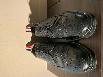 3e229d2cb2f THOM BROWNE Classic Longwing Men's Black Pebbled Leather Shoes US 8 Great