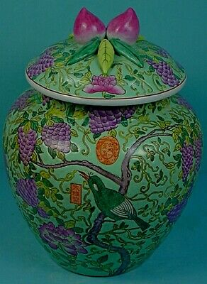 Vintage Chinese Famille Rose Porcelain Blue-Green Ground Lidded 'Peaches' Jar