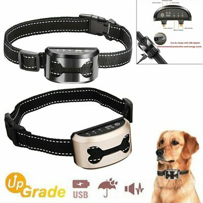 Auto Anti Bark Rechargeable Vibration Collar Stop Barking Dog Trainer Tools UN