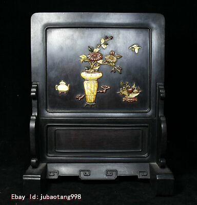 """12"""" Old China Rosewood Wood Inlay conch Jade ShouShan Stone Lucky Flowers Screen"""