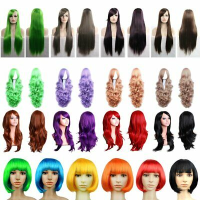 Women's Girl Hair Full Wig Straight/Curly Wavy Synthetic Cosplay Party Wigs EU