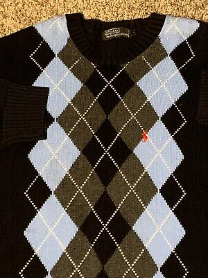 ralph lauren crewneck sweatshirt Argyle Large Good Quality Feels Heavy