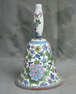 8.4 inch Old Chinese White Cloisonne Enamel Dynasty Palace Flower Zhong Bell