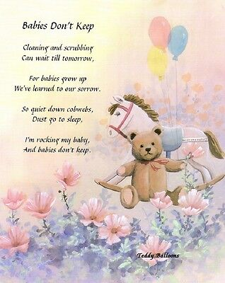 """""""Babies Don't Keep"""" Personalized Poem on Teddy Bears Baby Shower Nursery"""