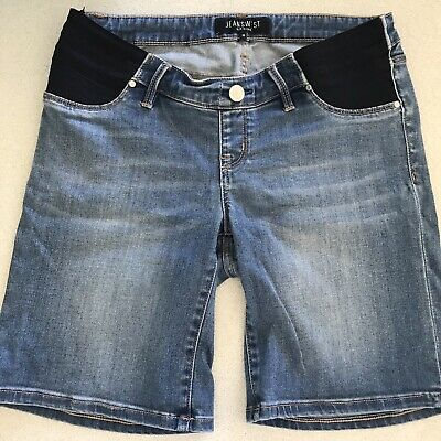 Ladies Jeanswest Blue Denim Maternity Shorts, Stretchy, 10, Rarely Worn, As New