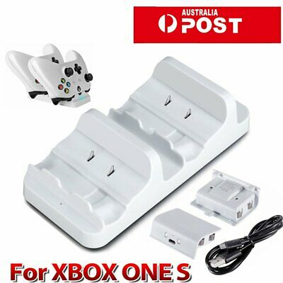 Dual Charging Dock Charger+2 Rechargeable Battery For Xbox One S Controller EU