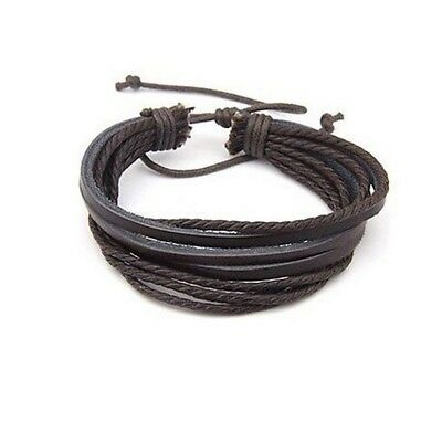 Leather Bracelet Braided Woven Mulit Wrap Hemp Surfer Braid Cuff Jewelry Gift