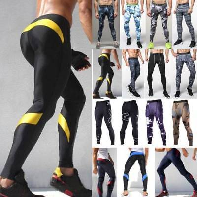 Mens Gym Fitness Print Leggings Compression Base Layer Sports Running Long Pants
