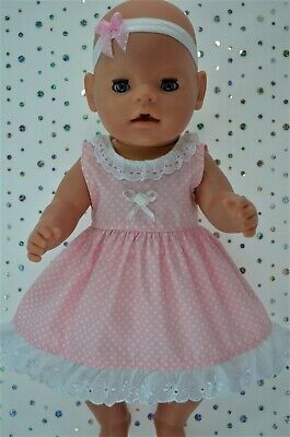 "Play n Wear Dolls Clothes To Fit 17"" Baby Born  PINK POLKA DOT DRESS~HEADBAND"