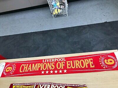 Liverpool Champion Of Europe Scarve Red One Free Postage.