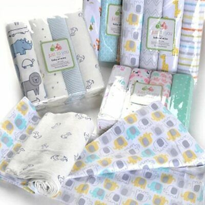 4 Baby Blankets Newborn Muslin Diapers 100% Cotton Baby Swaddle Blanket