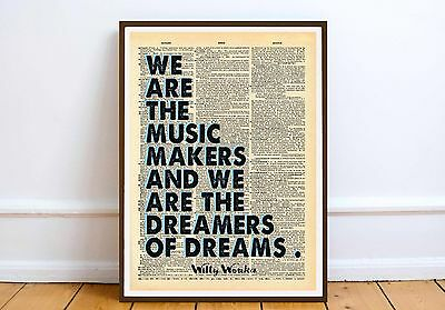 Willy Wonka QUOTE Motivation inspiration wall print Moc dictionary art gift