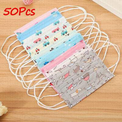 50pcs Kids Cute Disposable Medical Mouth Face Mask Anti-Dust Cover Ear Loop Tool