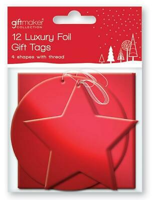 12 x Foil Christmas Xmas Present Shaped Gift Tags RED TTRE/1