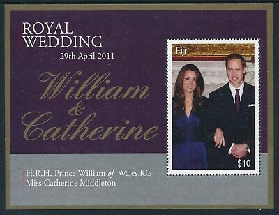 2011 Fiji Royal Wedding Prince William & Catherine Minisheet Fine Mint Mnh