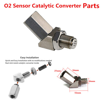 45 Degree Car Engine Light Check O2 Sensor Mini Catalytic Converter Metal Bungs