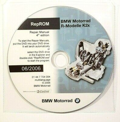 Dvd Manuale Officina Reprom K2X Workshop Bmw R1200Gs-R-Rt-S-St, Hp2,R900Rt 4^06