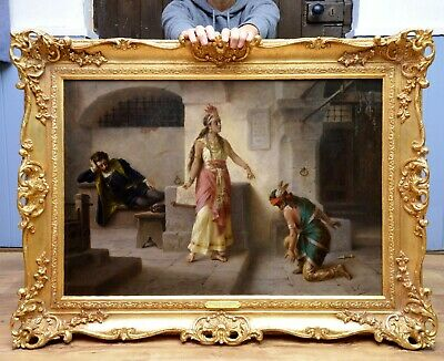 Fine Large Antique 19thC Oil Painting Pocahontas Early American History Legend