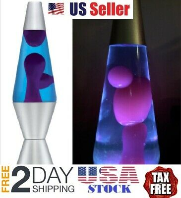 Lava the Original 14.5-Inch Silver Base  Lamp with Purple Wax in Blue Liquid
