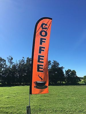 Coffee Feather Flag (only)  Great for Cafe shops & Mobile Coffee Vans 320x70cm