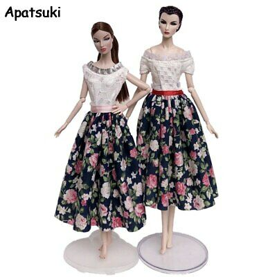 Black Countryside Floral Dress For Barbie Doll Outfits Gown Party Dress Clothes