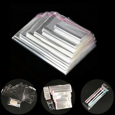 100X Clear Self Adhesive Seal Plastic Bag Pouch OPP gift Packing Bags Hang Hole