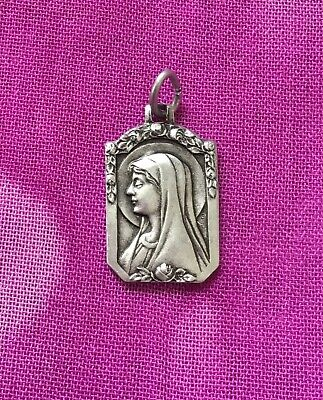 Vintage Antique 1900s Silver Virgin Mary Roses Religious Protection Charm Amulet