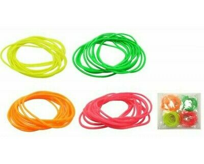 Neon Bangle Gummy Bangles Gold Bracelet 80s Wristband pack of 12 in Many Colours