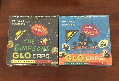 THE SIMPSONS Cards Glo Caps Factory Sealed Box Set