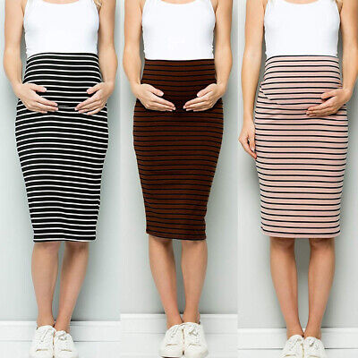 Womens Maternity High Waist Tummy Control Stripe Pencil Skirt Pregnant Skirts UK