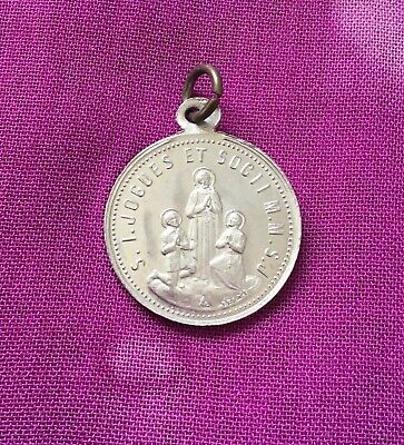 Vintage Antique 1900s Silver Saint Jogues Religious Protection Charm Pendant